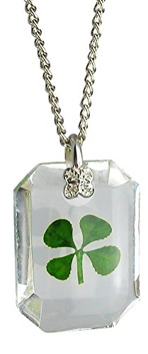 Lucky Real Four Leaf Clover Crystal Pendant Necklace with Certificate & Gift Box