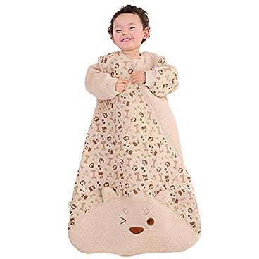 LL-SUNGIRL Babyschlafsack, Farbe Baumwolle Luftschicht Anti-Kick-Schlafsack Komfortabler Und Atmungsaktiver Cartoon-Kindersack Anpassung An Die Verschiedenen Schlafpositionen des Babys,Braun,S