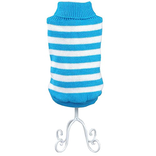 - Bolbove Pet Stripes Turtleneck Sweater for Small Dogs & Cats Knitwear Cold Weather Outfit (Blue, Medium)