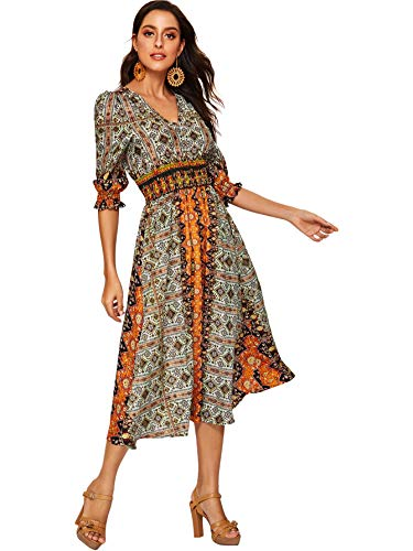 DIDK Women's Boho V Neck Geometric Print Puff Sleeve Button Deco Dress Multicolor L