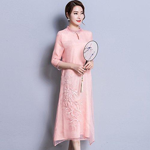 De Pink Bordado Suelta Un Largo Señoras Vestido Cheongsam ZHUDJ Vestido Traje vwYfAqWH