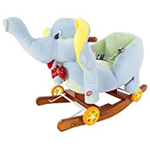 Happy Trails Rocking Horse Plush Animal Elephant 2-in-1 Wooden Rockers & Wheels Ride on Toy