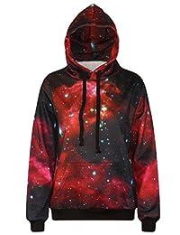 FEOYA Unisex Galaxy Print Hoodies Digital Printing Sweatshirts Sweater Pullover