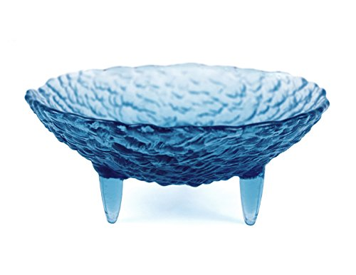 Modern Artisans American Made Footed Pebble Glass Soap Dish, Sapphire Blue Color