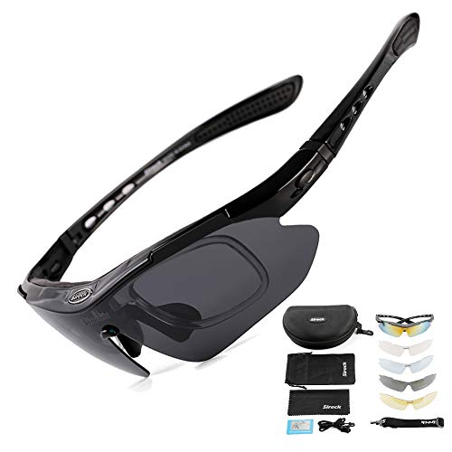 Sireck Sports Sunglasses – Polarized Sunglasses – Outdoor Golf Hiking Fishing Cycling Sunglasses Bike Bicycle Glasses Eyewear 5 Lenses For Men Women (Black)