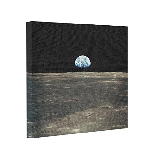 wonbye Abstract Art Canvas Apollo 11 Photo of Earth Rising Above the Moon Printed Canvas Artistic Photo Canvas,Framed 8 x 8 Inches