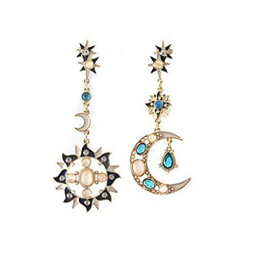 Korean Style Trendy Fashion - Korean Style Exaggerated Large Star Moon Shaped Asymmetrical Dangle Earrings Women Fashion Drop Earrings (star earring C)