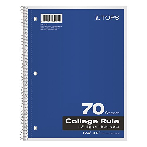 TOPS 1-Subject Spiral Notebooks, College Rule, 8 x 10.5 Inches, 70 White Sheets per Book, Cover Colors May Vary, Box of 24 (65021)