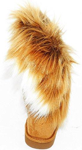 women winter warm high long snow Ankle boots faux fox rabbit fur tassel shoes Camel/Fur gbjSd40