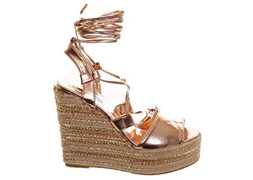 Women's Tie Up Rose Gold Espadrille Platform Wedges Summer Sandals 3 4 5 6 7 8 Rose Gold 7p9vxBLTiJ