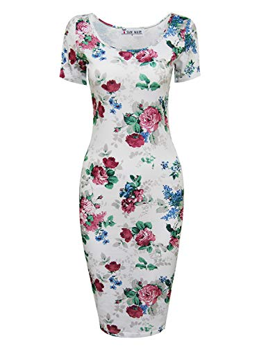 Tom 121 - Tom's Ware Women's Scoop Neck Floral Short Sleeve Midi Fitted Dress, Whitewine, Medium
