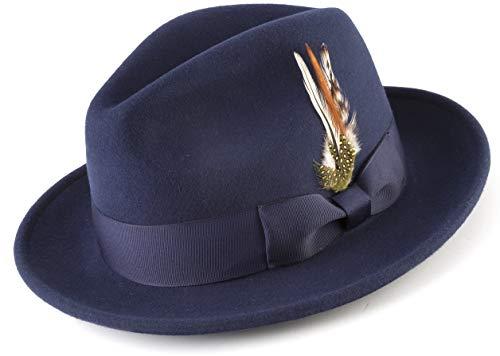 MONTIQUE Long Lasting Lightfelt 2 ½ Inch Wide Brim Wool Felt Dress Hat for Men H-60 (M, Navy) ()