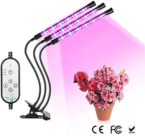 LED Grow Light, Full Spectrum 27W Triple Heads Grow Light. 54 LED 5 Dimmable Levels, USB Power Supply, 4 8 12H Timer, 360 Degree Flexible Gooseneck for Indoor, Office and Home