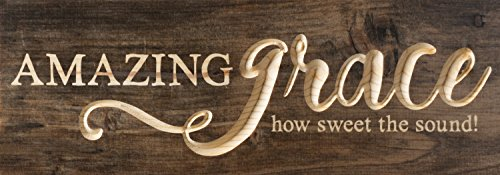 P. Graham Dunn Amazing Grace Distressed Engraved 16 x 6 Inch Solid Pine Wood Plank Wall Plaque Sign ()