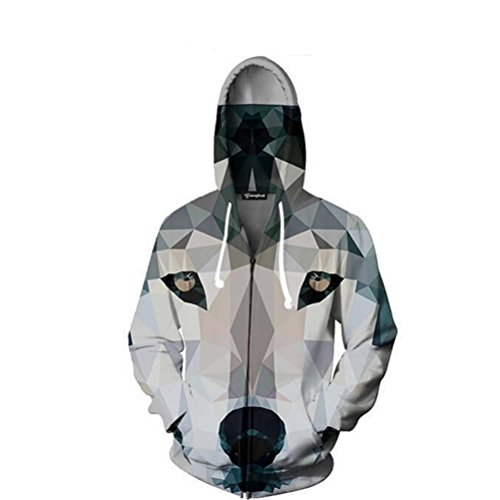 3D Zipper Hoodies Men Diamond Wolf Head 3D Print Pullover Hooded Casual Crewneck Autumn Tops Plus Size 5XL at Amazon Mens Clothing store: