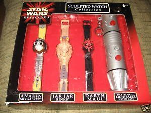 (Star Wars Episode 1 Sculpted Watch Collection Anakin Skywalker, Jar Jar Binks and Darth Maul )