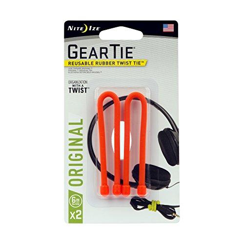 Nite Ize Original Gear Tie, Reusable Rubber Twist Tie, 6-Inch, Bright Orange, 2 Pack, Made in the...