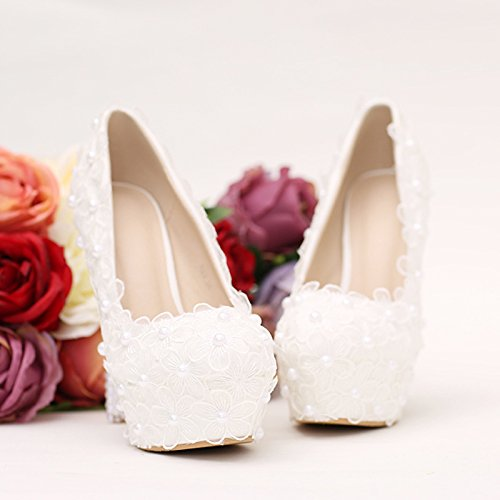 Heel Wedding Dress Photo Waterproof 12Cm Pearl 8 High White Flower Elegant Lace Sandals Prom Shoes VIVIOO Shoes Table Super Wedding Wedding Shoes Women'S Single xa6wHBqq