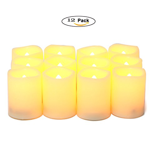 UPBASICN 12 Pieces LED Flameless Battery-operated Votives Candles/Unscented LED Candles/Flameless Candles/Flickering Tealights for Garden wedding,Party,Festival Decorations etc (Batteries Included) -