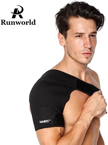 Runworld Shoulder Support Brace Pad Wrap Support Belt with Adjustable Strap for Injury Prevention, Dislocated AC Joint, Labrum Tear, Frozen Shoulder Pain, Sprain, Soreness, Unisex