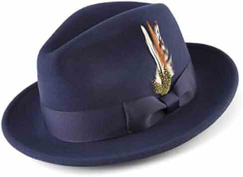 f3c3d05b357253 MONTIQUE Long Lasting Lightfelt 2 ½ Inch Wide Brim Wool Felt Dress Hat Men  H-
