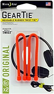 Nite Ize Original Gear Tie, Reusable Rubber Twist Tie, 6-Inch, Bright Orange, 2 Pack, Made in the USA