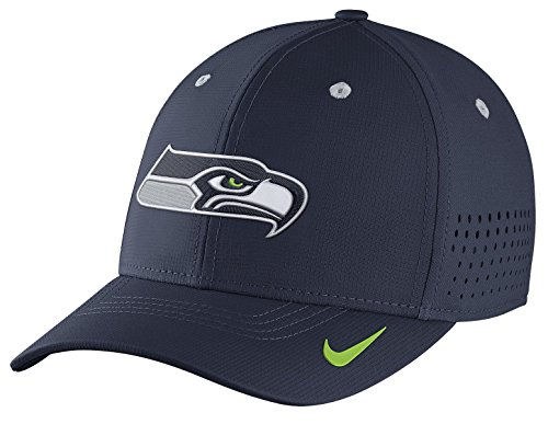 Nike Legacy Vapor Swoosh Flex (NFL Seahawks) Fitted Hat, College Navy, -