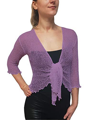 (Ikat Plus Sizes Ladies Crochet Fish Net Bolero Shrug Maternity Tie at Waist Cardigan (One Size, Lavender))