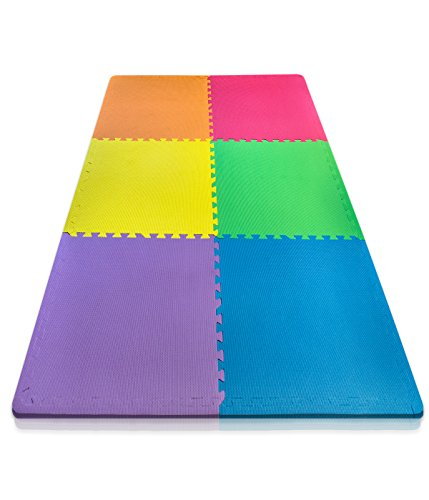 "Sivan Health and Fitness Puzzle Exercise Mat Colorful 6 EVA Foam Interlocking Tiles Each Tile Measures 24""x24"" Total of 24sq ft by Sivan Health and Fitness"