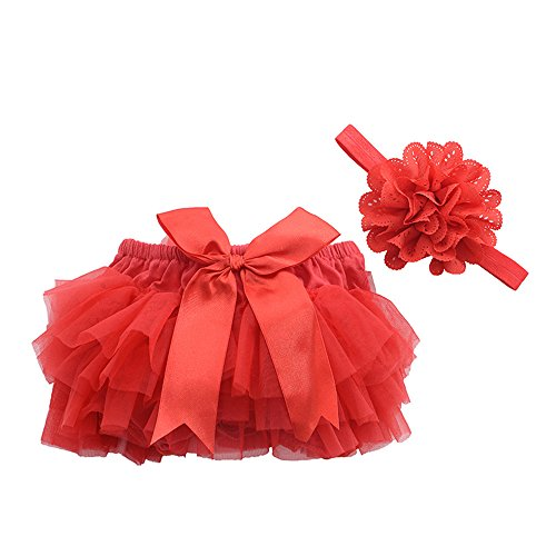 muyan Girls Cotton Tulle Ruffle with Bow Baby Bloomer Diaper Cover and Headband Set (Red, L(12Month-24Month)) (Tulle Bottom)