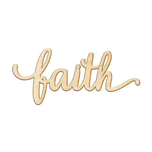 faith Script Wood Sign Home Decor Wall Art Unfinished CHARLIE 8'' x 4'' by Woodums