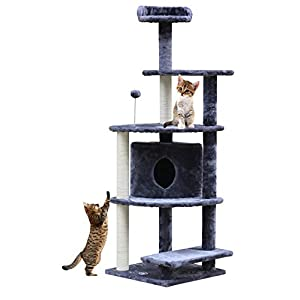 Callas RioAndMe Multilevel Cat Tree Condo with Scratching Post (Grey, 60 Inches, CATCC3)