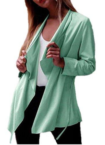 Color Delgada Coat Manga BESTHOO Casual Mujer Joven Cardigan Outwear Tops Ligero Green Irregular Abrigos Abrigos Caída SÓLido Larga Sencillos Rw1qCFxA