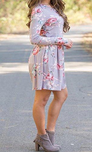 Coolred-femmes Cuillère Floral Tunique Automne Manches Longues Drapé En Robes Haut Gris