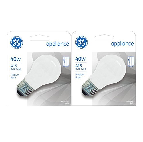 Frosted Appliance - GE Appliance A15 Light Bulb, Inside Frost, 40-Watt, 355 Lumens, Medium Base, 3-1/2 Inches (2 Pack)