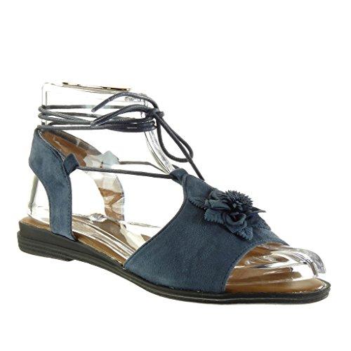 Gladiator Tanga Mujer Zapatillas Tal Moda Flores Abierto Sandalias Angkorly gxPTtnWt