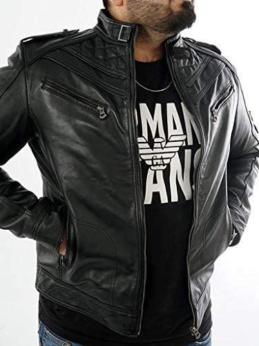 Cavani Leathers Mens Real Genuine Leather Jacket Vintage Black Slim Fit Biker Jacket