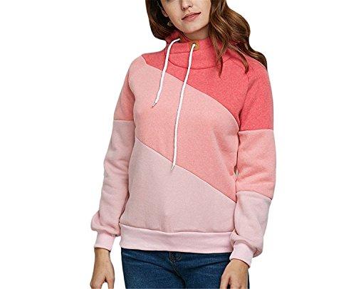 LOKOUO Autumn Winter Warm Fleece Women Hooded Sweatshirt Long Sleeve Color Block Hoodies Casual Plus Size Pullovers PinkMedium