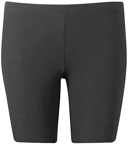 New Womens Plus Size Over Knee Plain Jersey Cycling Shorts ( Charcoal, XL )