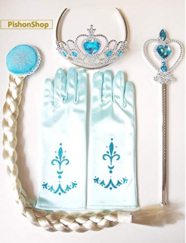 Princess Elsa Dress Up Party Costumes Accessories Set Gloves, Tiara, Wand Braid, Lake Blue, 4 Piece