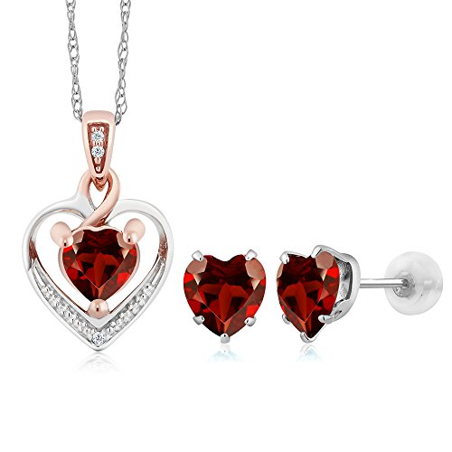 Gem Stone King 10K White Gold Heart Shape Red Garnet and Diamond Pendant Earrings Set