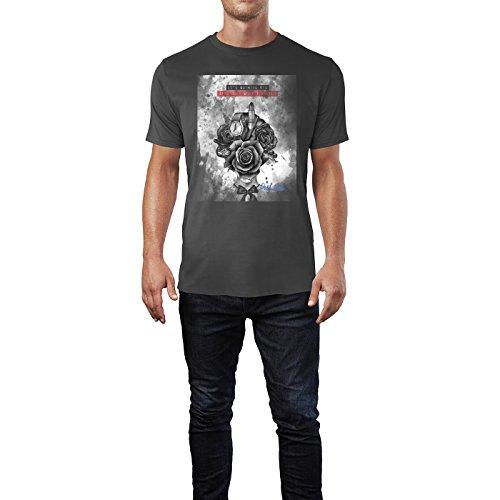 SINUS ART® Modeillustration mit Blumenkopf Herren T-Shirts in Smoke Fun Shirt mit tollen Aufdruck