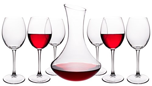 7 Piece Glass Set (7 Piece Modern Wine Set with Decanter (60 Oz) and 6 Large Wine Glasses (14.5 Oz))
