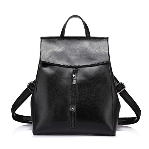 Las mujeres Mochila Cuero de vaca mochilas señoras bolsas de hombro Mochila escolar para Adolescente Fashion Negro