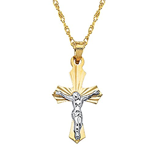 14k Gold Children's Shiny Yellow and White Two-tone Gold Tubular Baby Cross Charm Pendant Necklace (16 Inches) by Ritastephens