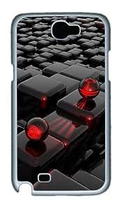 3D Cube Custom Designer Samsung Galaxy Note 2/Note II / N7100 Case Cover - Polycarbonate - White