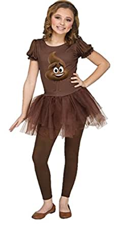 The Emoji Movie Poop Junior Girls Brown Tutu Dress Child Halloween Costume SM-XL