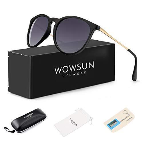 WOWSUN Polarized Sunglasses for Women Vintage Retro Round Girls Black Frame Gradient Gray ()