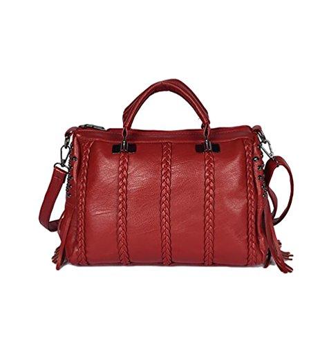 YouPue Damen Handtaschen PU Leder Messenger Bags Tragetaschen Satchel Clutch Wallet Geldbörse Rot