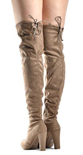 LUSTHAVE Blake Frauen Sexy Overknee Pullon Boot - Kordelzug Stretchy Komfortable Blockabsatz - Seitlicher Reißverschluss Natürlich